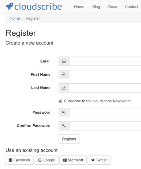 screenshot of the registration page